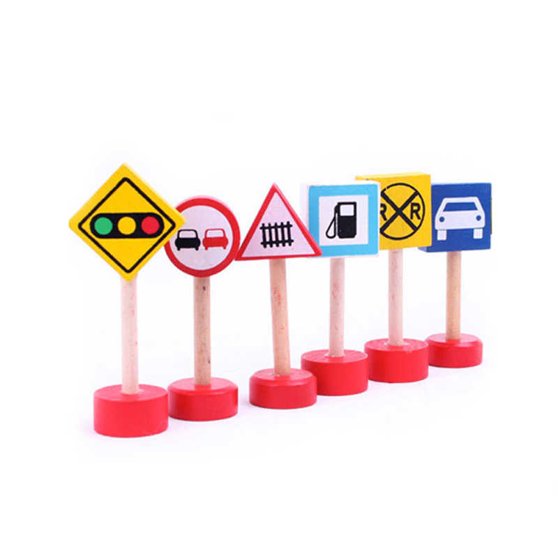D531 Suitable for children Tmas the train toy track accessories Wooden Road sign 6pcs/LOT Children's cognitive toys
