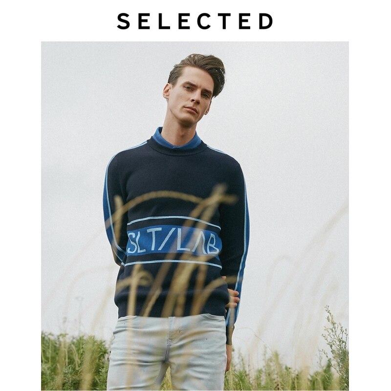SELECTED Men's Autumn 100% Cotton Striped Letter Print Knit LAB|419424532