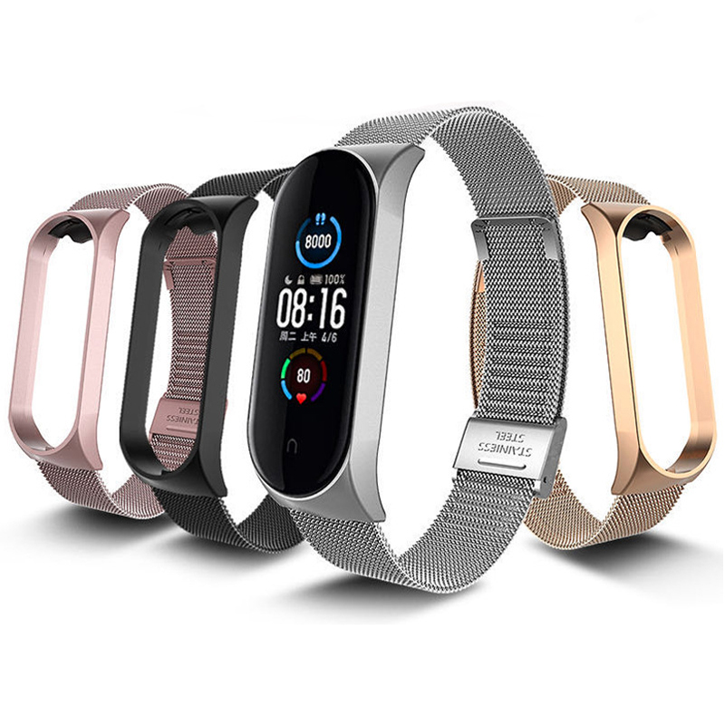 Milanese-Strap Wristbands Metal Bracelet Stainless-Steel Xiaomi for Silver Black 4 3