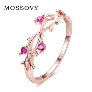 Mossovy Engagement-Ring Jewelry Zircon Crystal Leaf Rose-Gold Floral-Plated Adjustable