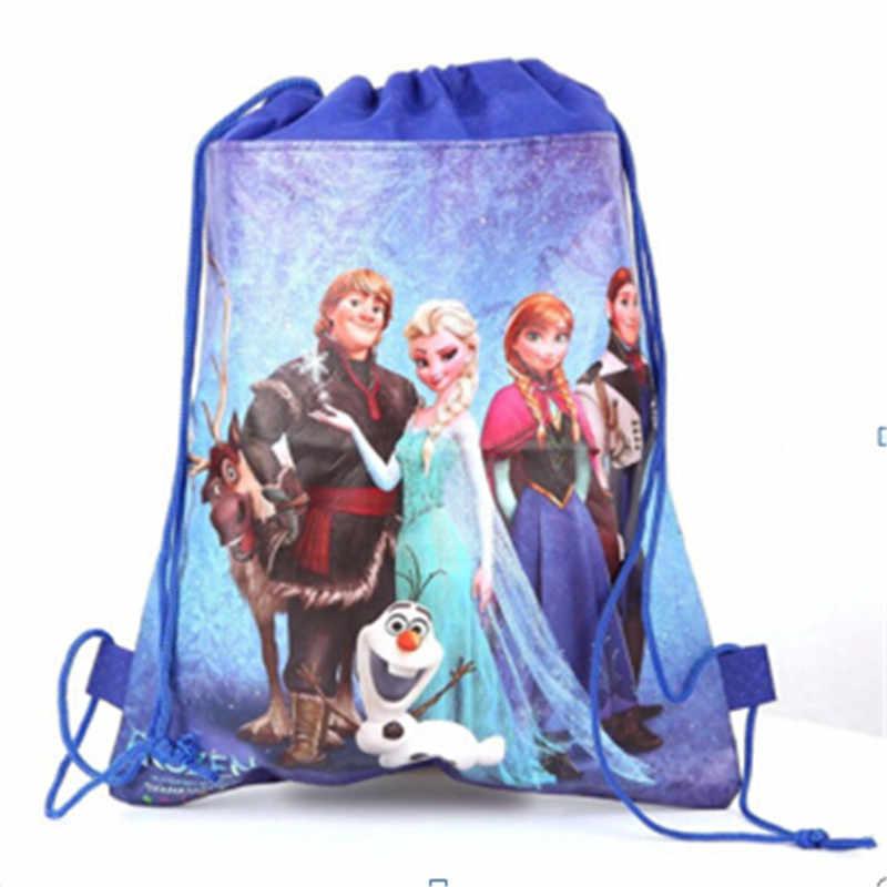 1 個ディズニー冷凍アンナエルザ王女不織布巾着袋キッズスクールバックパック子供の誕生日パーティー用品ギフトバッグ