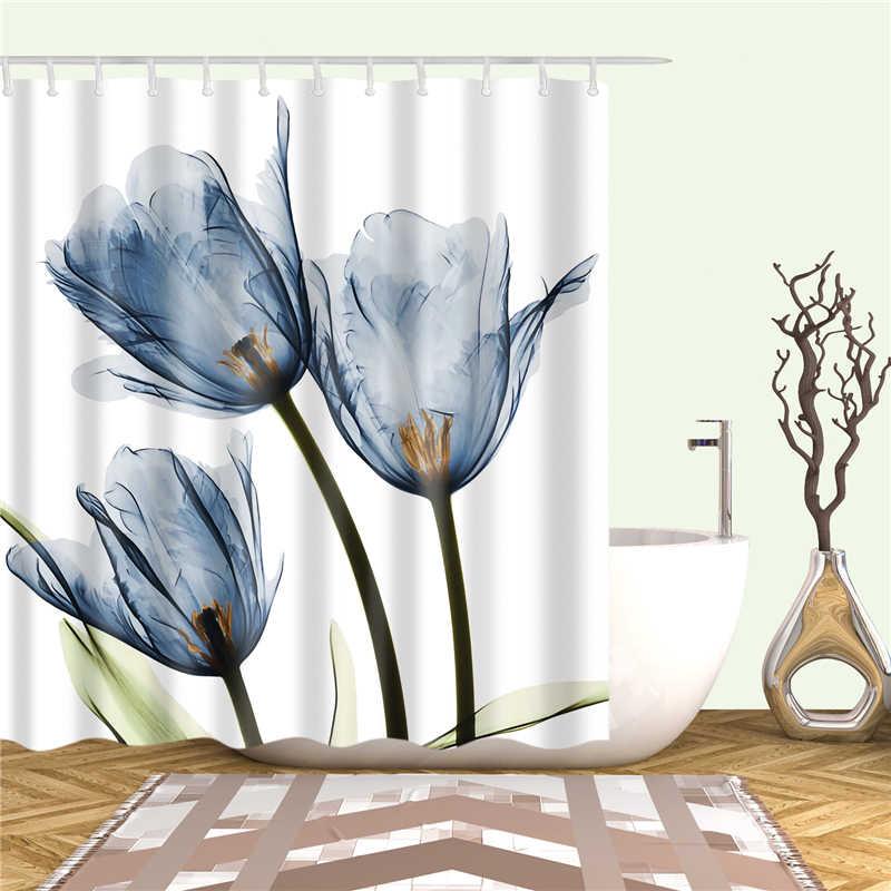Tulipano Tenda Della Doccia di Stampa Bagno Decorazione Schermo Con Tessuto In Poliestere Impermeabile Doccia Tenda Con Gancio