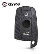 Keyyou fob fibra de carbono caso chave para bmw x1 x5 3 5 série e90 e91 e92 e60 silicone chave do carro remoto caso capa do carro accessorie