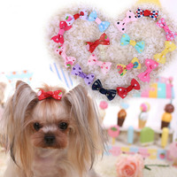 100PCS Pet Dog Cat Hair Bows Rubber Bands Flowers Pearls Pet Grooming Bows Hair Accessories Pet Supplies tina para perros
