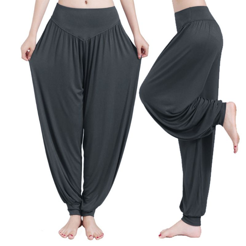 Women Elastic High Waist Lounge Cotton Trousers Casual Genie Aladdin Hippie Pant