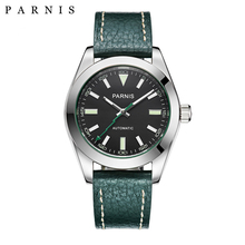 40mm Parnis Watch Mechanical Sapphire Crystal Casual Leather Miyota 8215 Men's