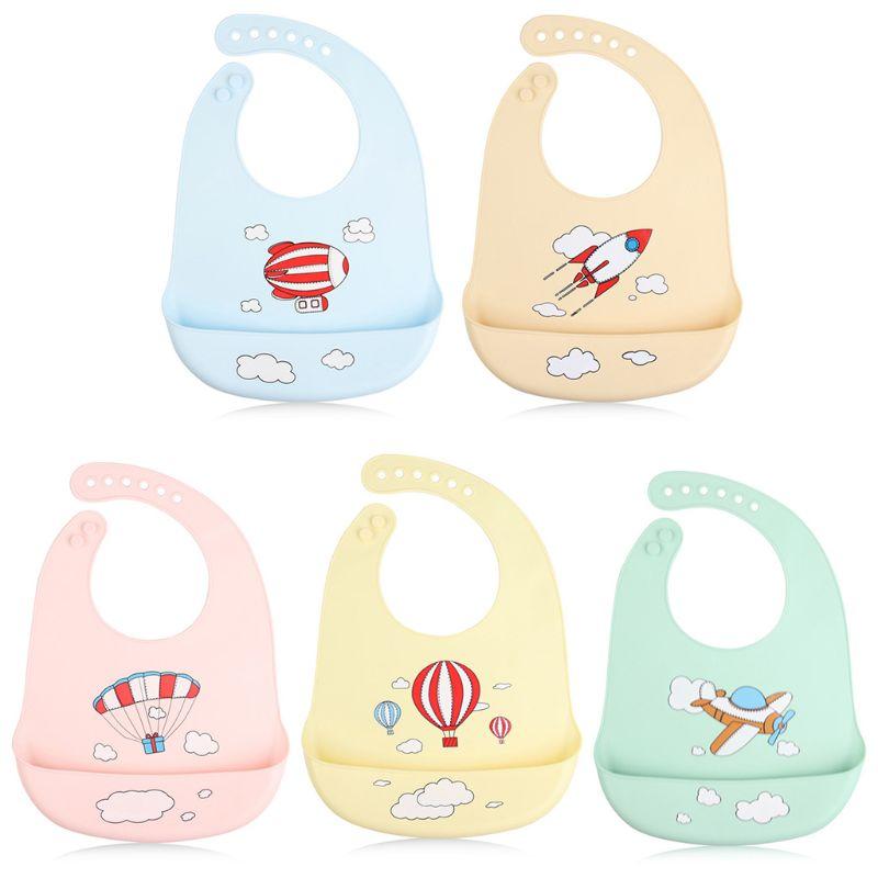 Waterproof Silicone Baby Bibs Candy Color Cartoon Plane Rocket Toddlers Feeding Food Crumb Catcher Pocket Saliva Towel