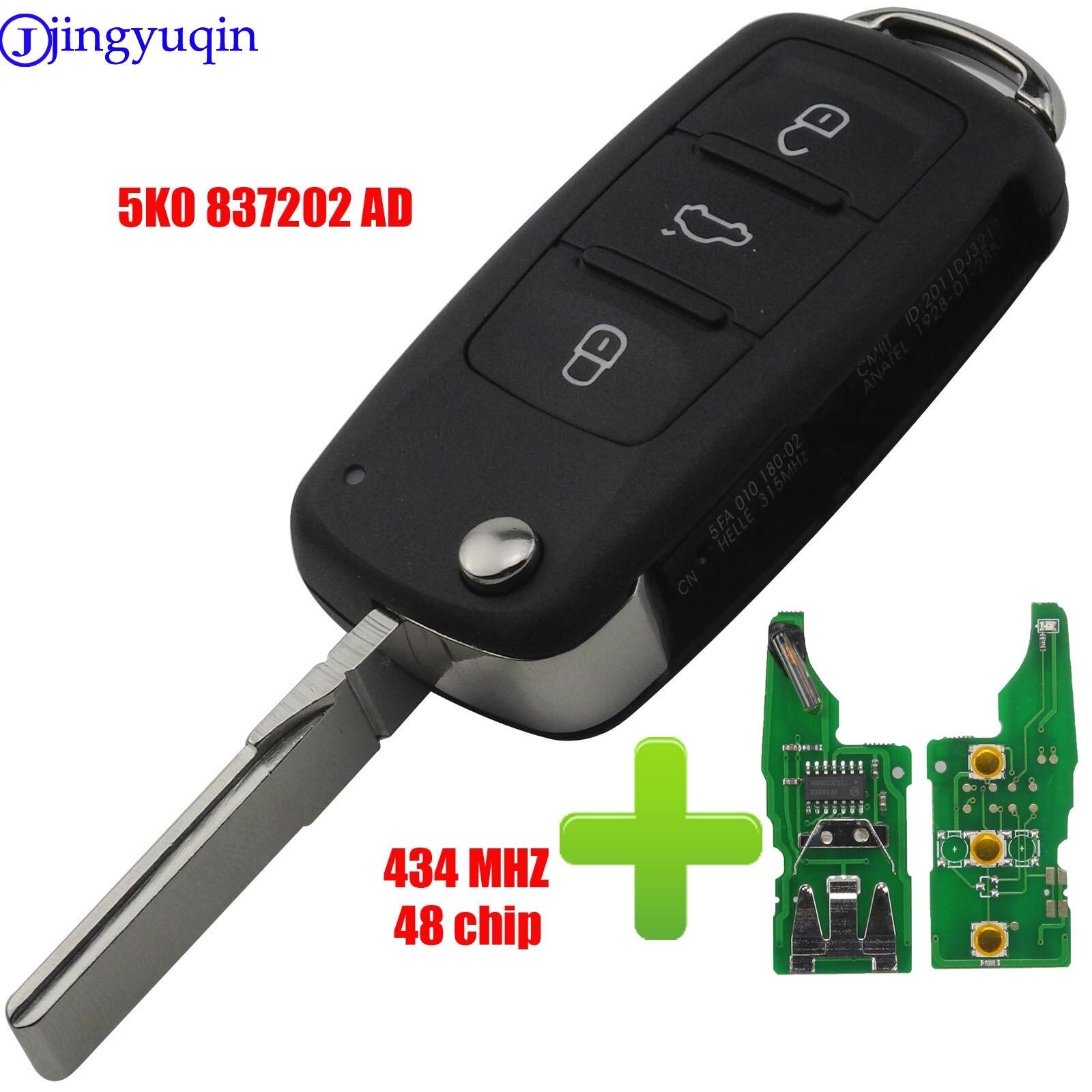 Пульт дистанционного ключа 434 МГц ID48 чип 5K0837202AD для VW Golf Tiguan Polo Passat CC SEAT Skoda Mk6 Octavia Jetta Beetle 3 BTN Flip