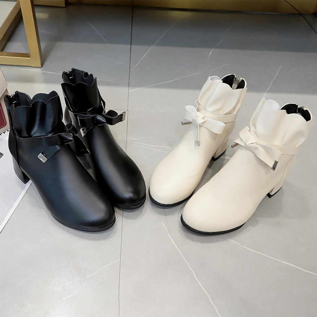 2020 ใหม่ฤดูใบไม้ผลิฤดูหนาวผู้หญิง SLIP-ON ลูกไม้ Bowknot Chunky ส้นสูงข้อเท้ารองเท้าสั้นรองเท้า Elegant Design รองเท้าผู้หญิง # O22