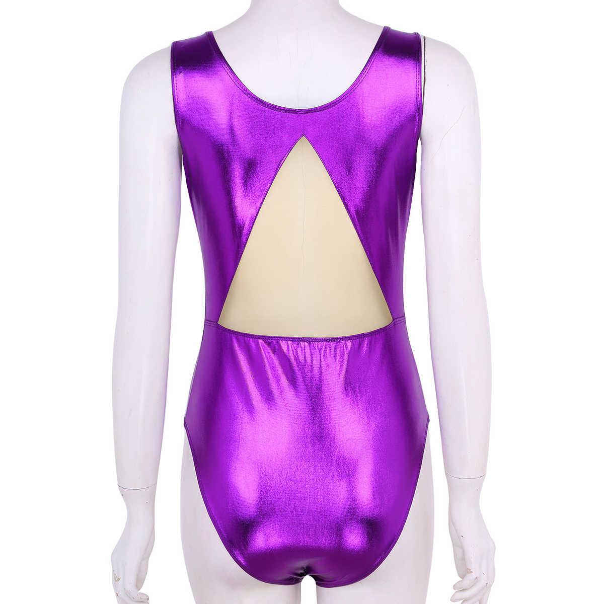 Women Adult Shiny Metallic Ballet Tutu Leotard Dance Scoop Neck Sleeveless High Cut Gymnastics Leotard Ballerina Bodysuit
