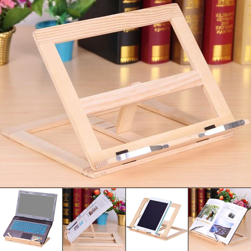 Wooden Frame Reading Bookshelf Bracket Tablet PC Support Stand Wooden Drawing Easel UY8