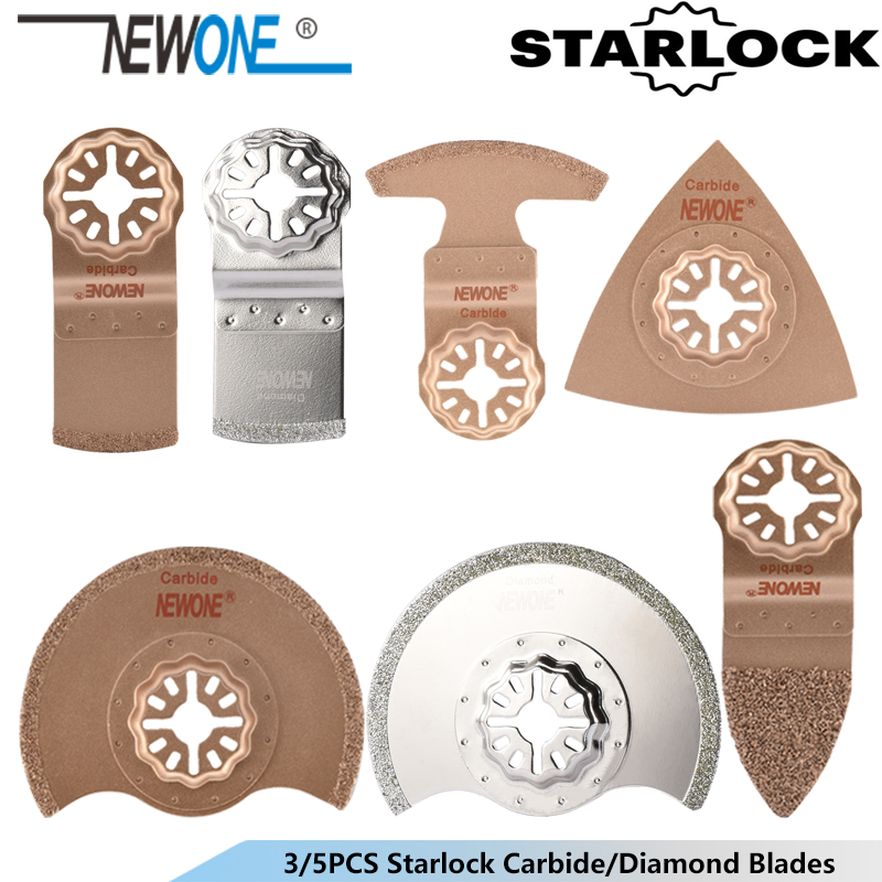 NEWONE 3pcs Starlock Carbide/Diamond Oscillating Tool Saw Blades Renovator Trimmer Saw Multi-tool Saw Blade For Tile Concrete