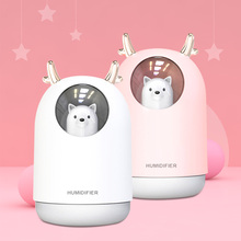Cartoon Ultrasonic Electric USB Air Humidifier 300ML Pet Timing Aroma Essential Oil Diffuser Cool Mist Maker Fogger With Light