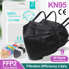 Mask FFP2 Kn95 Black Disposable-Protection Adult Breathable 5-Layers Dust-Proof Anti-Droplet
