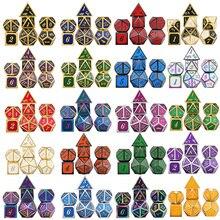 Металлические игральные кости DnD для ролевой игры MTG курсивный шрифт включает сумку разные цвета D4 D6 D8 D10 D12 D20
