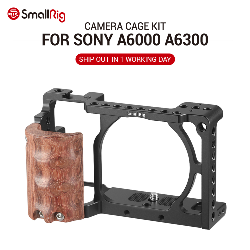 <font><b>SmallRig</b></font> for sony a6000 accessories for Sony A6300 / A6000 / ILCE-6000 / ILCE-<font><b>6300</b></font> Cage W/ Wooden Handle Dual Camera Rig - 2082 image