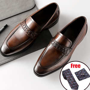 Image 2 - أحذية رجالي رسمية من phenkangأحذية أكسفورد من الجلد الطبيعي للرجال باللون الأسود 2020 أحذية للارتداء أحذية للزفاف أحذية جلدية من slipon