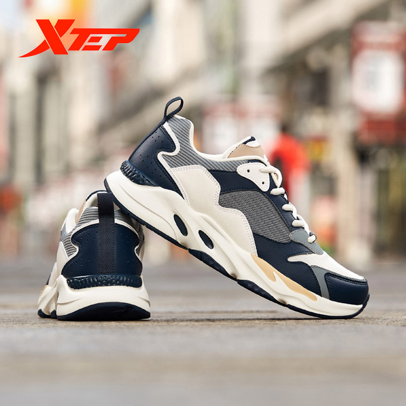 Xtep Men Chunky Sneakers Shoes Autumn Mesh Lightweight Breathable Casual Fashion Thick Bottom Old Shoes 881219329808