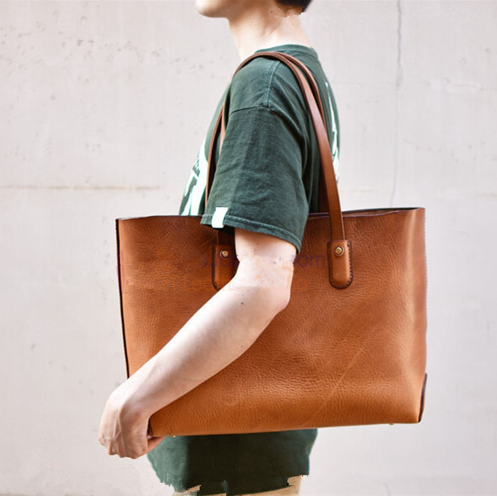 Handmade Leather Bag Drawing Handmade Crazy Horse Leather Retro Bag 4mm Distance BDQ-99 Tote Bag Version Drawing