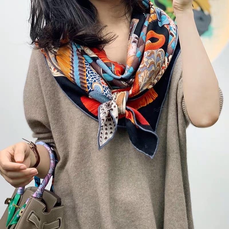2019 New Arrival Autumn Winter 70% Cashmere 30% Silk Big Scarf 135*135 Cm Warm Fashion Wrap Shawl For Women Lady Girl