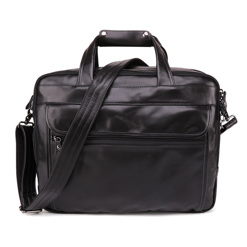 Full-grain Leather Men's Briefcase Business Retro Leather 15.6-Inch Hand Computer Bag Oil Wax Leather Shoulder Men'S Bag