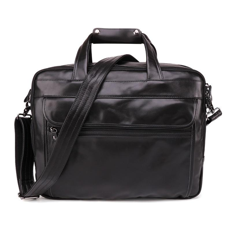 Full-grain Leather Men's Briefcase Business Retro Leather 15.6-Inch Hand Computer Bag Oil Wax Leather Shoulder Men'S Bag