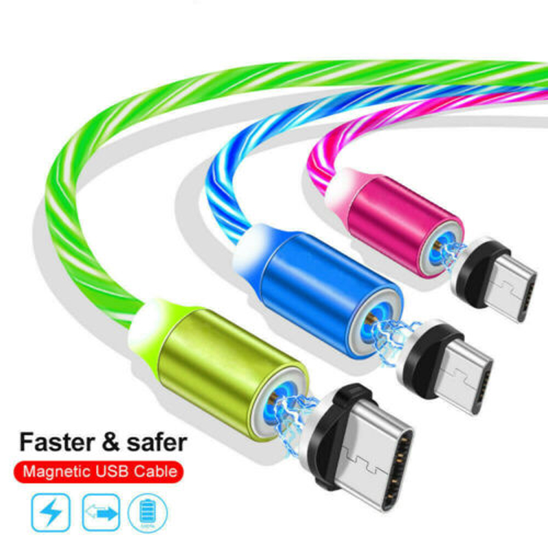 360 Degree Rotate Magnetic Flow Luminous LED Light Micro USB Type C Cable For OnePlus Samsung S7 S8 S9 Note 8 9 10 Pro USB Cable image