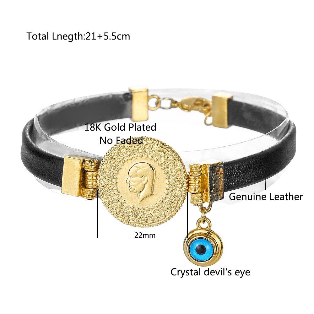 Muhammad Turkish Coin Bracelet Muslim Islam God Allah Cuff Devil's Eye Bracelet Middle East Arab Jewelry Leather Bracelet