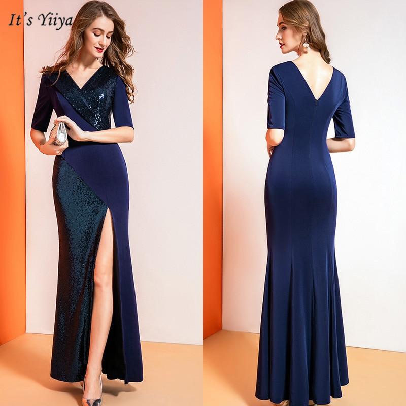 It's Yiiya Evening Dress V-Neck Half Sleeve Mermaid Women Party Dresses Sequin Backless Floor-Length Robe De Soiree V169