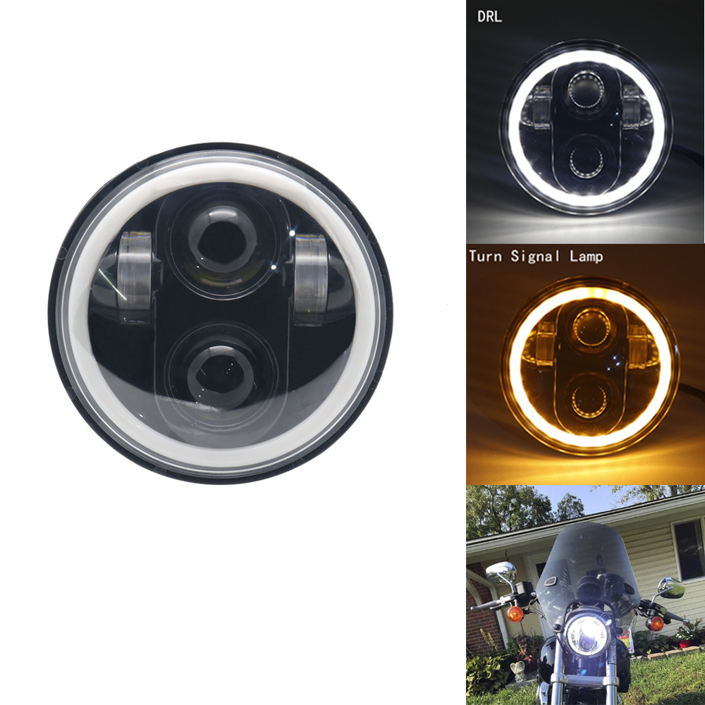 For Harley LED Headlight Kit 5.75 Inch Round Headlamp LED Auxiliary Lamps DRL & Turn Signal Light For Harley Projector
