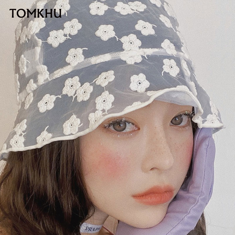 Organza Flower Embroidery Sun Hats 2020 New Summer For Women Female Retro Lightweight Japanese Anti-UV Beach Lace Bucket Hat New