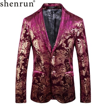 Shenrun Men Blazer Fashion Casual Jackets Autumn Winter Floral Pattern Velvet Suit Jacket Wedding Groom Party Prom Stage Costume
