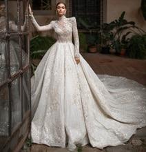 Роскошное Свадебное платье с высоким воротом, длинные рукава, свадебные платья из фатина с бусинами, новинка 2020