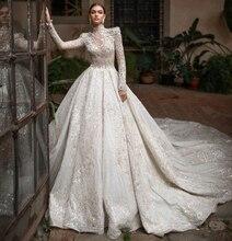 Nuovo 2020 di Lusso Abito da Sposa di Alta Collo Maniche Lunghe Fulle Che Borda Tulle Abiti da Sposa Vestito da Sposa Vestido De Noiva Gelinlik