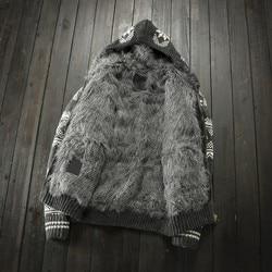 Dikke Fleece Voering Herfst Winter Warm Mens Gebreide Hooded Open Stitch Lange Mouwen Rits Mannelijke Cashmere Blends Truien Jassen