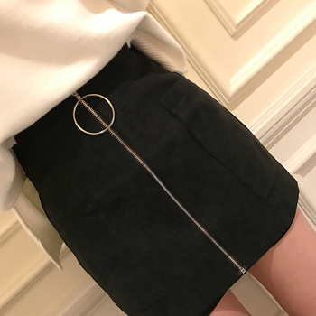 MUMUZI Thick Cotton blends Short women black wide leg trousers High Waist Front Zipper short S-XL with Pockets Mini Shorts Skirt 3