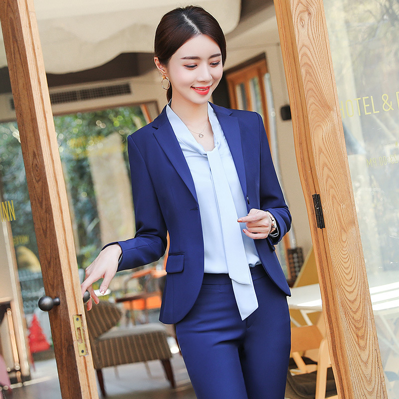 Professional Women's Suits Pants Suit 2019 Spring And Autumn New Solid Color Full-sleeve Blazer Women's Slim Trousers Two-piece
