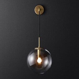 Image 5 - Lámparas de pared de estilo nórdico, candelabro moderno, accesorio de iluminación de pared, luz LED de escalera en forma esférica de vidrio Edison, estilo rústico y moderno