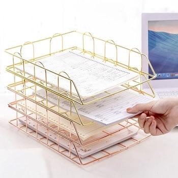 Nordic Metal Home Office Storage Basket Desk Organiser Desk Organiser Desktop A4 Paper Organization Magazine Newspaper Organizer фото