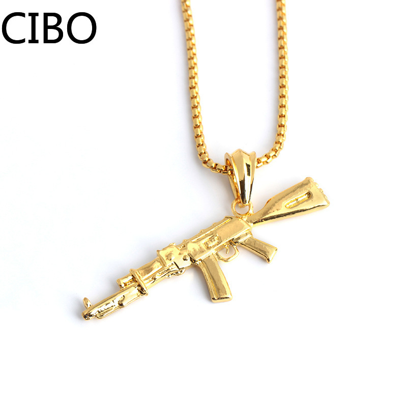 2019 New Necklace machine gun assault and rifle ak-47 silver color Pendants Short Long Women Men Colar Gift Jewelry Choker image