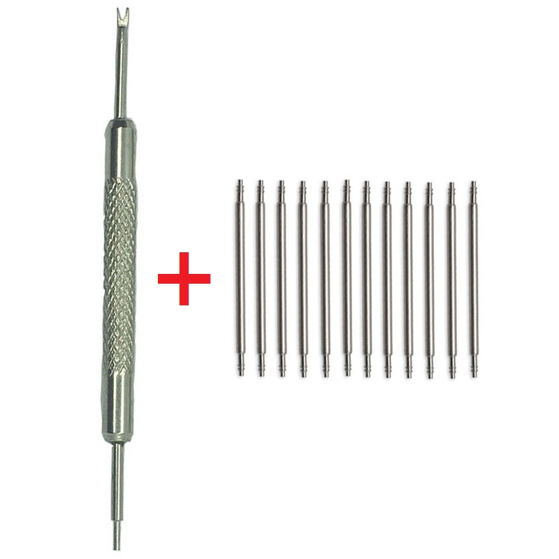 New 100pcs+1 Tool Stainless Steel Spring Bar Link Pins Watch Band Strap Remover Silvery 12 14mm 16mm 18mm 20mm 22mm 24mm 26 28mm