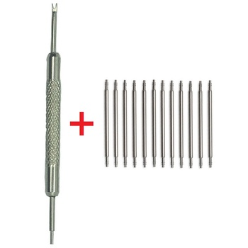 цена на New 100pcs+1 tool Stainless Steel Spring Bar Link Pins Watch Band Strap Remover Silvery 12 14mm 16mm 18mm 20mm 22mm 24mm 26 28mm