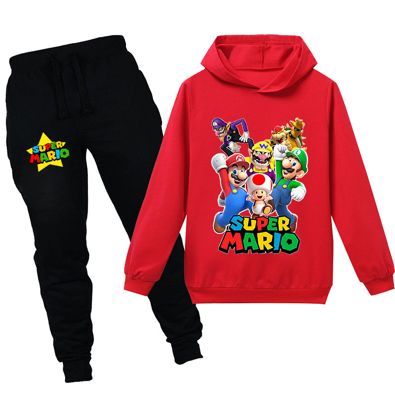 Super Mario Boys Girls Kids Toddler Hooded Sweater Mario Bros Print Sweatshirt Pants Suit Children Hoodies For 2-16 Years Old