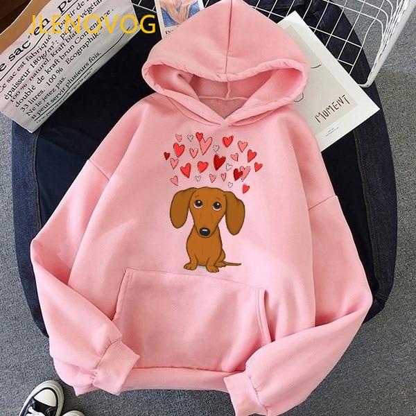 Cute Dachshund Dog Love Cartoon Print Hoodies Women Clothes 2021 Funny Vogue Sweatshirt Femme Harajuku Kawaii Winter Tracksuit 14