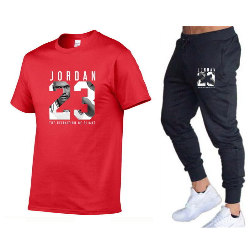 2019 New Men Running Casual Short-sleeved T-shirt + Gymnastic Pants Two-Piece Set Jogging Sports Clothing