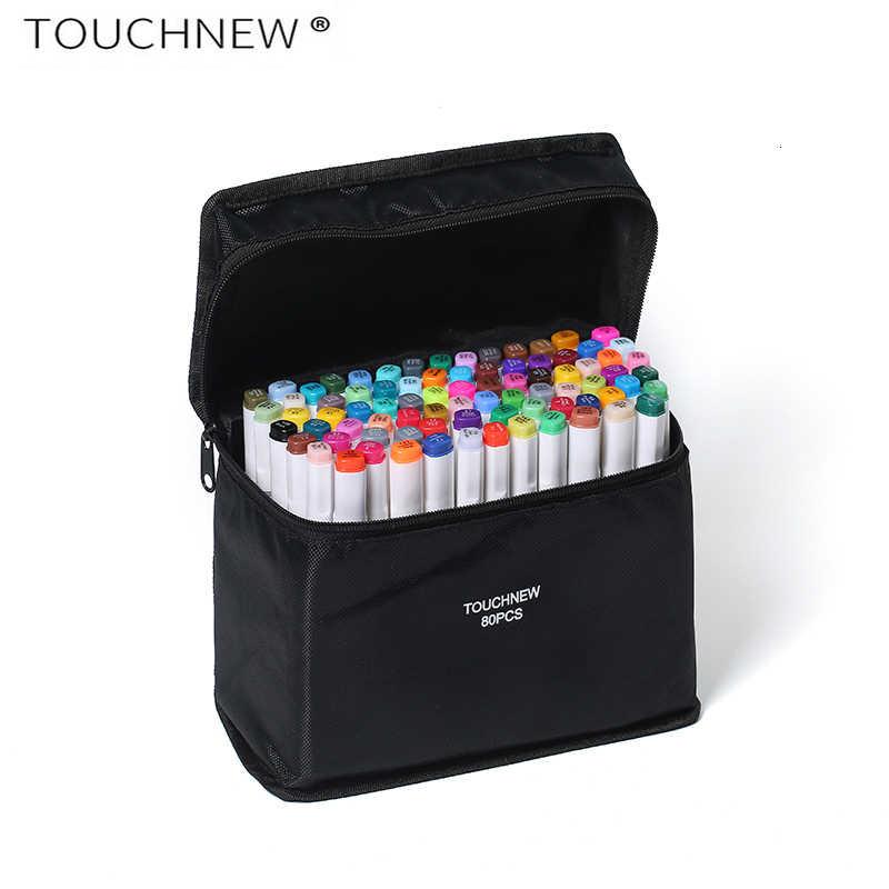 TOUCHNEW 30/40/60/80 colores arte marcadores manga dibujo rotuladores de diseño pluma Alcohol Based Sketch aceitoso lápiz de doble pincel suministros de arte