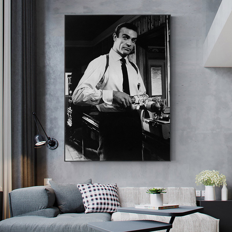 James Bond 007 Movie Poster Classic Vintage Canvas Painting Black White Wall Art Picture Cuadros For Living Room Home Decor
