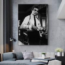 James bond 007 filme cartaz clássico do vintage pintura da lona preto branco parede arte imagem cuadros para sala de estar decoração casa