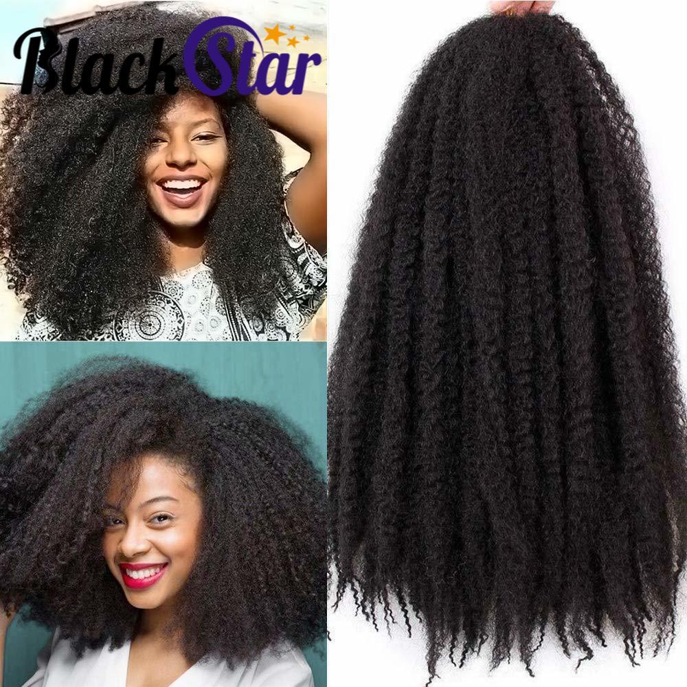Черные Звездные волосы, Марли, волосы для завивки, афро, кудрявые, вязанные волосы, 18 дюймов, Омбре, синтетические, канекалон, плетение, волос...