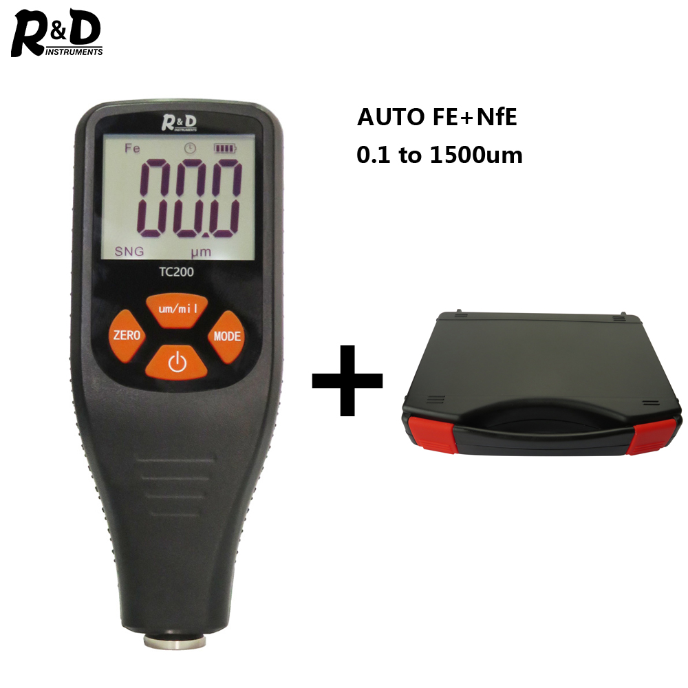 R&D TC200+Case Coating Thickness Gauge 0.1micron/0-1500 Car Paint Film Thickness Tester  FE/NFE Russian Manual Car Boady Repair